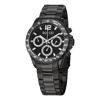 SO&CO New York Men's Quartz Monticello Black Satinless Steel Link Bracelet Watch