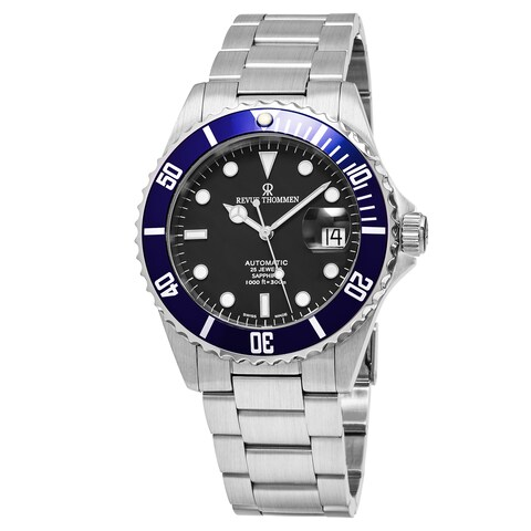 Revue Thommen Men's 'Diver' Black Dial Stainless Steel Swiss Automatic Watch