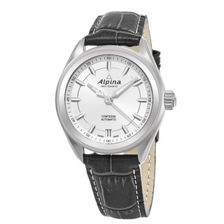 Alpina Women's AL-525SF2C6 'Comtesse' Silver Dial Grey Leather Strap Swiss Automatic Watch