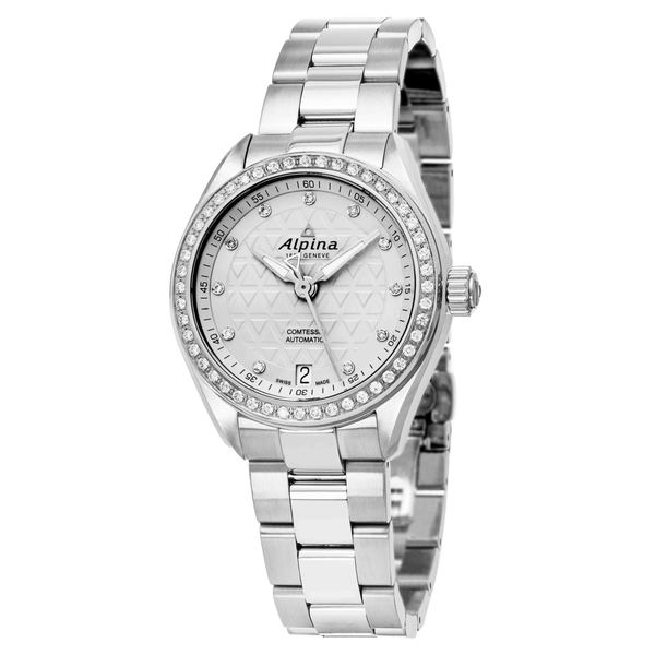 0d0abc714f6 Shop Alpina Women s  Comtesse  Silver Diamond Dial Stainless Steel Swiss  Automatic Watch - Free Shipping Today - Overstock - 12366871