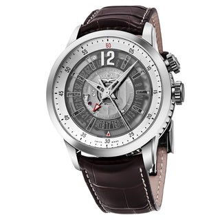 Vulcain Men's 220136.267LF 'Anniversary Heart' Silver Dial Brown Leather Strap Swiss Automatic Watch