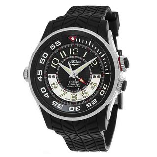 Vulcain Men's 101924.160RF 'Aviator Cricket' Black Dial Black Rubber Strap Swiss Mechanical Watch