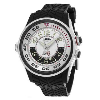 Vulcain Men's 101924.159RF 'Aviator Cricket' Silver Dial Black Rubber Strap Swiss Mechanical Watch