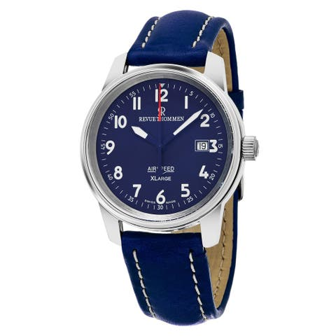 Revue Thommen Men's 16052.2535 'Air speed XL' Blue Dial Swiss Mechanical Watch with Blue Leather Strap