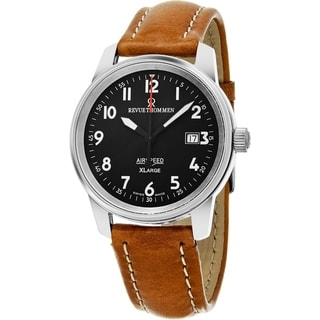 Revue Thommen Men's 16052.2537 'Air speed XL' Black Dial Brown Leather Strap Swiss Mechanical Watch