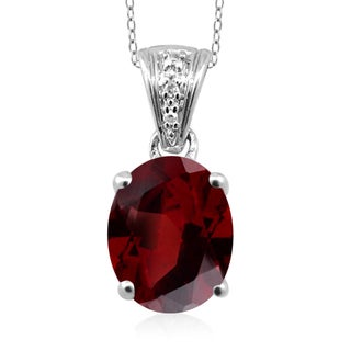 Jewelonfire Sterling Silver 2 1/5ct TGW Garnet and Diamond Accent Pendant