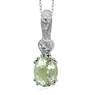Jewelonfire Sterling Silver 1 7/8ct TGW Green Amethyst and Diamond Accent Pendant