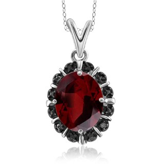 Jewelonfire Sterling Silver 2 1/5ct TGW Garnet and Accent Black Diamond Pendant - Red