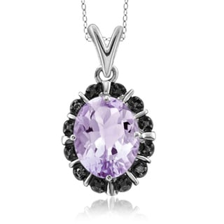 Jewelonfire Sterling Silver 1 5/8ct TGW Pink Amethyst and Accent Black Diamond Pendant