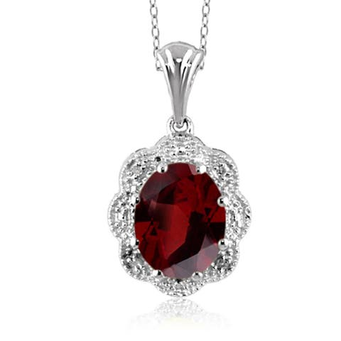 Jewelonfire Sterling Silver 2 1/5ct TGW Garnet and Diamond Accent Pendant