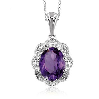 Jewelonfire Sterling Silver 1 5/8ct TGW Amethyst and Diamond Accent Pendant