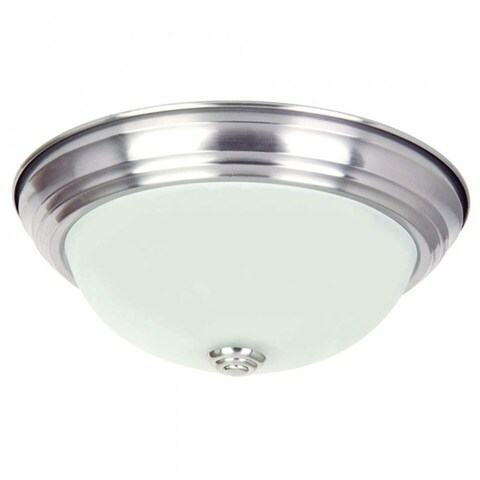 Y-Decor Satin Nickel Finish Flush Mount Light Fixture with White Glass