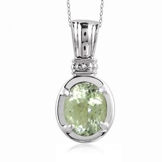 Jewelonfire Sterling Silver 1 7/8ct TGW Green Amethyst Pendant