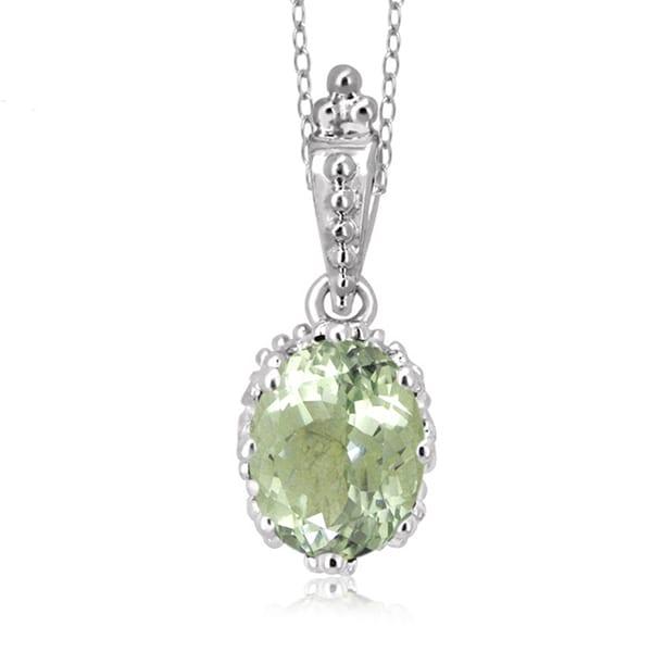Jewelonfire sterling silver 1 78ct tgw green amethyst pendant jewelonfire sterling silver 1 78ct tgw green amethyst pendant aloadofball Images