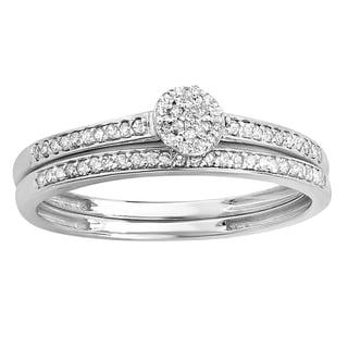 Elora 10k White Gold 1/5ct TW Diamond Bridal Set (I-J, I2-I3)