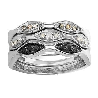 Elora Sterling Silver 1/4ct TW Multi-color Diamond Stackable Band
