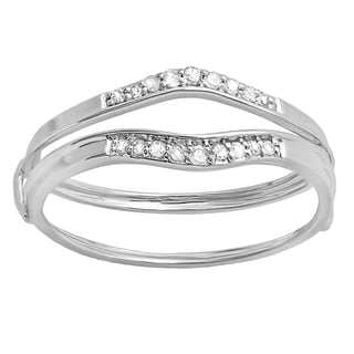 Elora 18k Gold 1/8ct TW Round White Diamond Anniversary Enhancer Guard Wedding Band (I-J, I2-I3)
