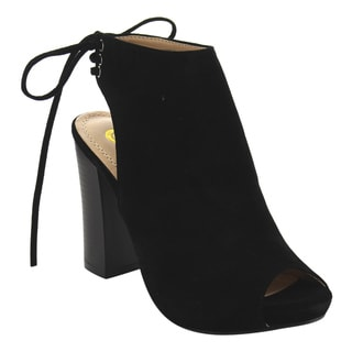 Chase & Chloe EC79 Women's Back Lace-up Cut-out High Block Heel Ankle Booties