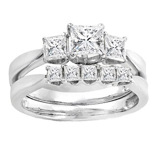 Elora 14k White Gold 1 1/4ct TW Princess Diamond Bridal Engagement Ring Set (H-I, I1-I2)