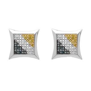 Elora 10k White Gold 1/3ct TW Multi-color Round Diamond Micro Pave Kite Shape Stud Earrings (I-J, I2-I3)