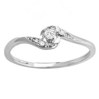 Elora 10k White Gold 1/10ct TW Diamond Bridal Promise Bypass Promise Ring (I-J, I2-I3)