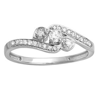 Elora 10k White Gold 1/4ct TW Round Diamond Bridal Promise Heart 3-stone Swirl Engagement Ring (H-I, I1-I2