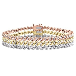 Miadora 1 1/2ct TDW Diamond 3-Piece Tennis Bracelet Set in Tricolor White, Pink, and Yellow Plated Sterling Silver (G-H, I2-I3)