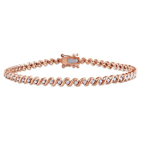 Miadora 1/2ct TDW Diamond 'S' Style Tennis Bracelet in Rose Plated Sterling Silver - White