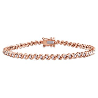 Miadora 1/2ct TDW Diamond 'S' Style Tennis Bracelet in Rose Plated Sterling Silver (G-H, I2-I3)