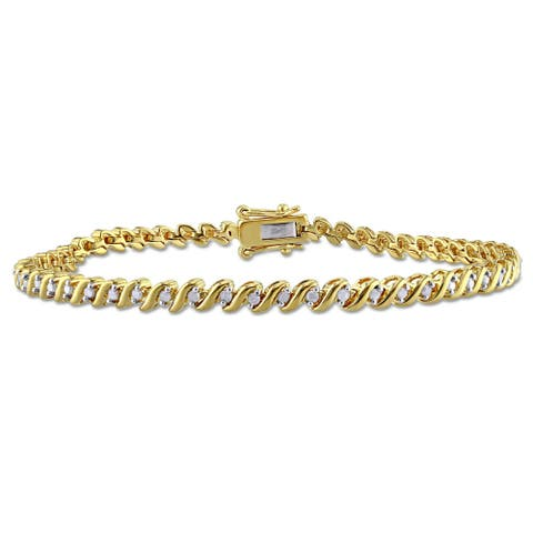 Miadora 1/2ct TDW Diamond 'S' Style Tennis Bracelet in Yellow Plated Sterling Silver - White