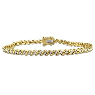 Miadora 1/2ct TDW Diamond 'S' Style Tennis Bracelet in Yellow Plated Sterling Silver