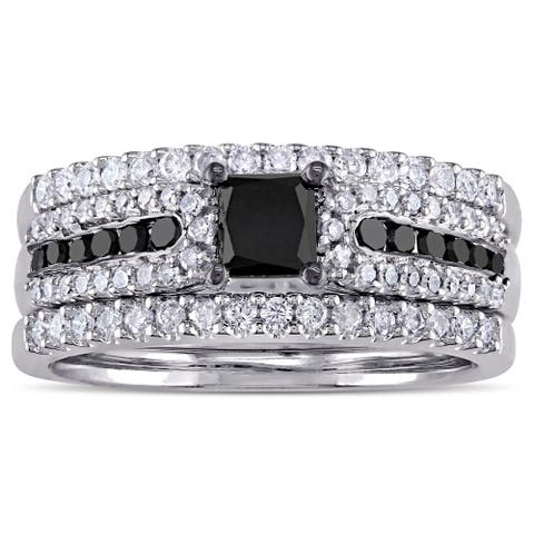 Miadora Black Rhodium Plated Sterling Silver 1 1/6ct TDW Princess-cut Black and White Diamond Bridal
