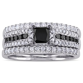 Miadora Black Rhodium Plated Sterling Silver 1 1/6ct TDW Princess-cut Black and White Diamond Bridal Ring Set (G-H, I2-I3)