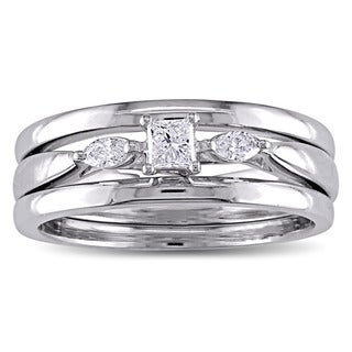 Miadora 10k White Gold 1/4ct TDW Princess and Marquise-cut Diamond 3-stone Bridal Ring Set (G-H, I2-I3)