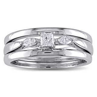 Miadora 10k White Gold 1/4ct TDW Princess and Marquise-cut Diamond 3-stone Bridal Ring Set (G-H, I2-