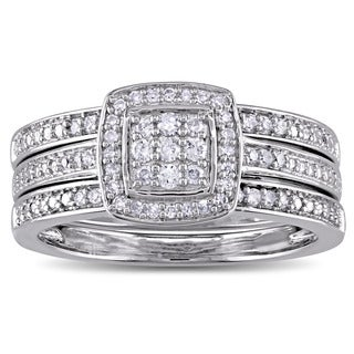 Miadora Sterling Silver 1/3ct TDW Diamond Halo Bridal Ring Set (G-H, I2-I3)