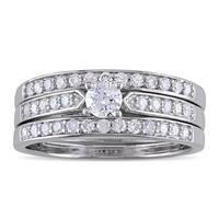 Miadora Sterling Silver 5/8ct TDW Diamond Bridal Ring Set