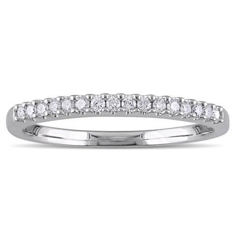 Miadora Sterling Silver 1/6ct TDW Diamond Semi Eternity Wedding Band - White