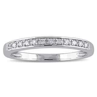 Miadora 14k White Gold 1/10ct TDW Diamond Semi Eternity Wedding Band