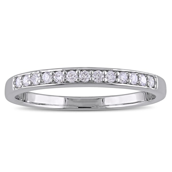 Miadora Sterling Silver 1/6ct TDW Diamond Semi Eternity Wedding Band