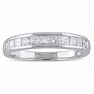 Miadora 14k White Gold 3/4ct TDW Princess-cut Diamond Channel-set Semi Eternity Wedding Band