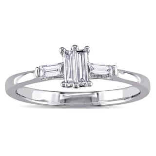 Miadora 10k White Gold 1/4ct TDW Parallel Baguette-cut Diamond Engagement Ring