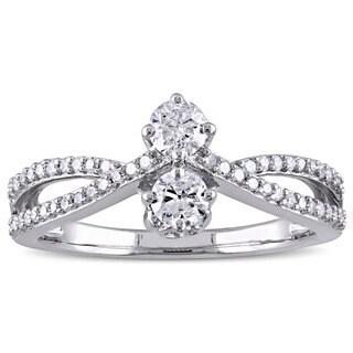 Miadora 10k White Gold 1/2ct TDW Diamond 2-Stone Split Shank Promise Ring (G-H, I2-I3)