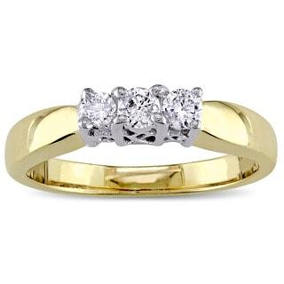 Miadora 14k 2-Tone Yellow and White Gold 1/5ct TDW Diamond 3-Stone Engagement Ring