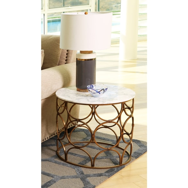 Faux Stone Coffee Table: Shop Abbyson Roland Round Faux Marble Coffee Table