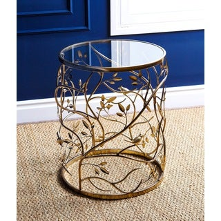 Abbyson Venetian Round Glass End Table
