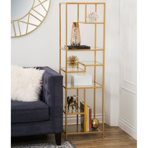 Abbyson Rowley Gold Glass Book Shelf