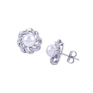 14k White Gold Frame Akoya Pearl Post Earrings