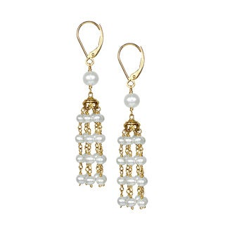 14k White Pearl Chandelier Hoop Earring