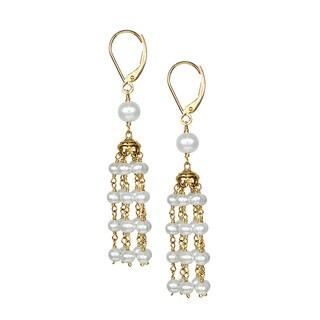 14k White Pearl Chandelier Leverback Earrings